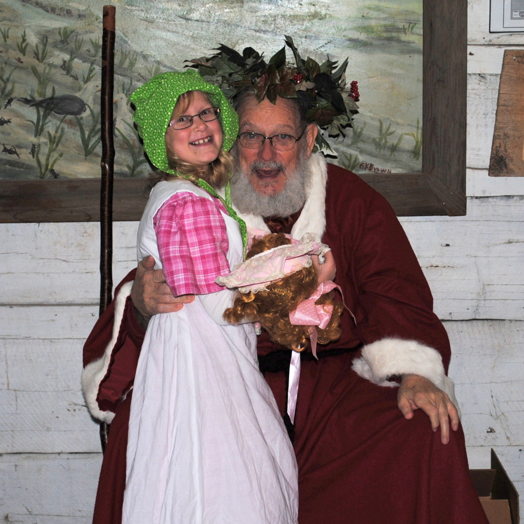 Pioneer girl with Father Christmas